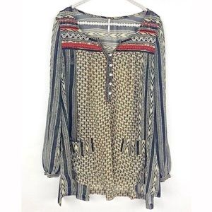 Free People Beaded Printed Tunic Top